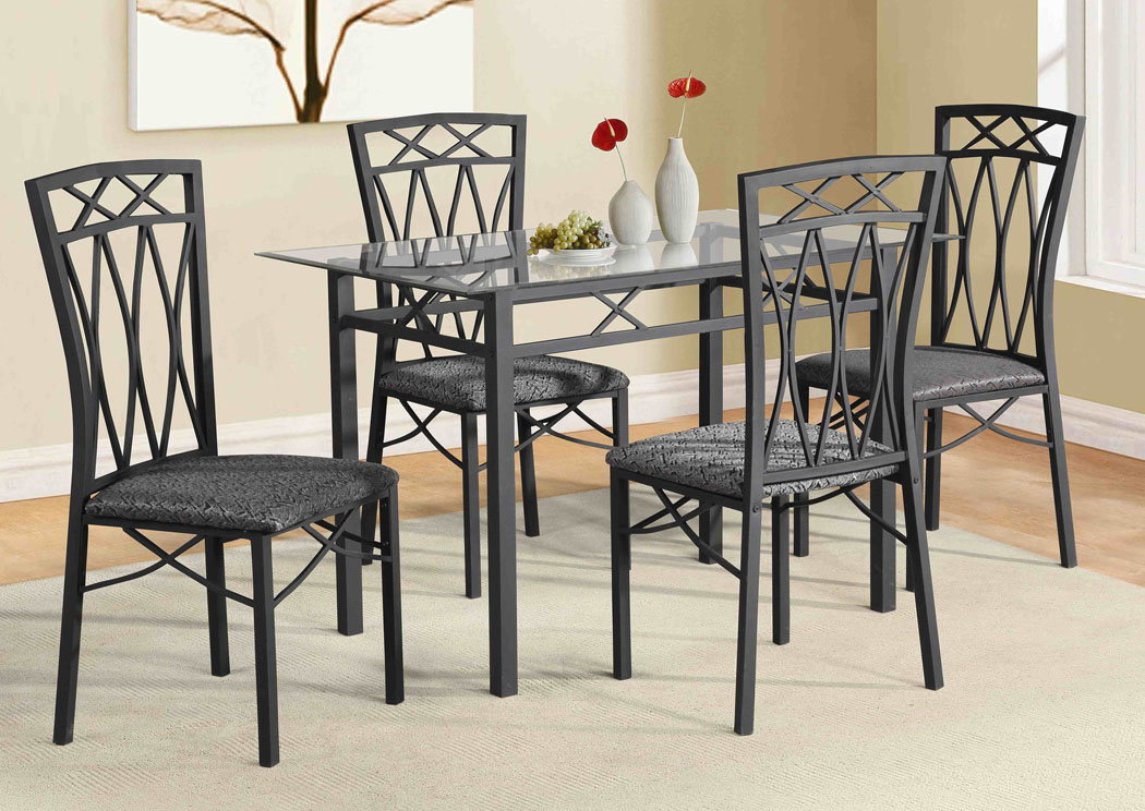 Gunmetal Grey Table and 4 Chairs,Glory Furniture