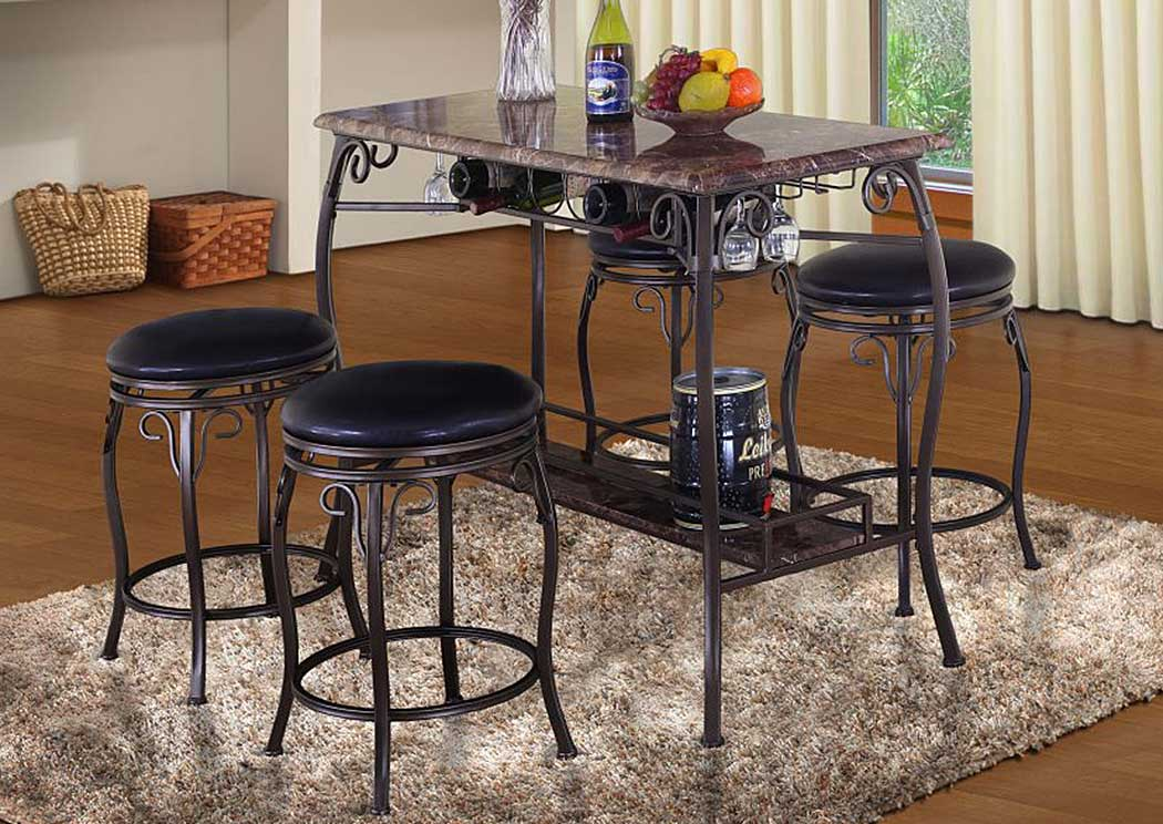 Faux Stone & Metal Table and 4 Stools,Glory Furniture