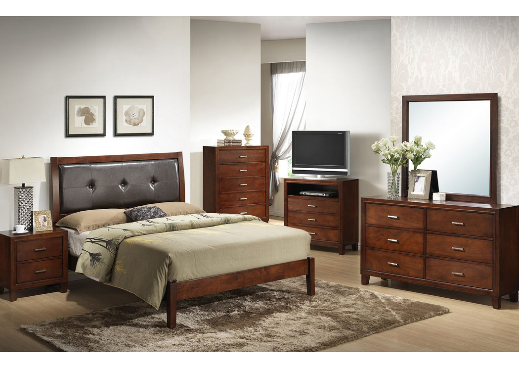 Cherry Queen Bed, Dresser & Mirror,Glory Furniture