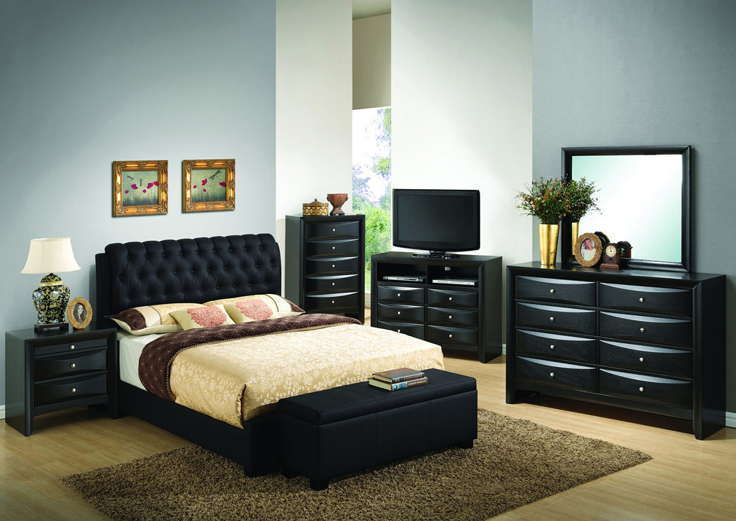 Black Queen Upholstered Bed, Dresser & Mirror,Glory Furniture
