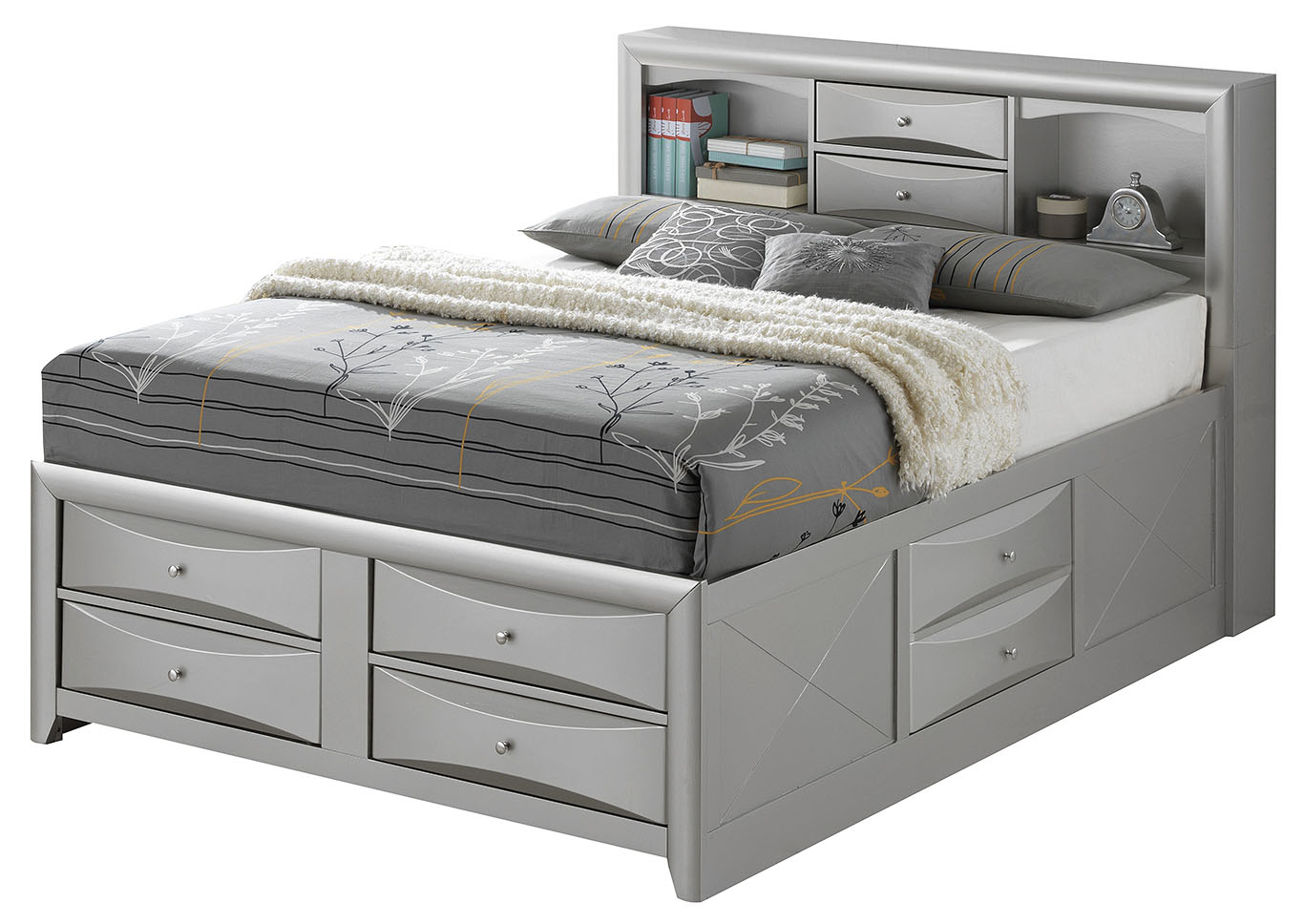 Gray 6 Drawer Full Storage Bed,Glory Furniture