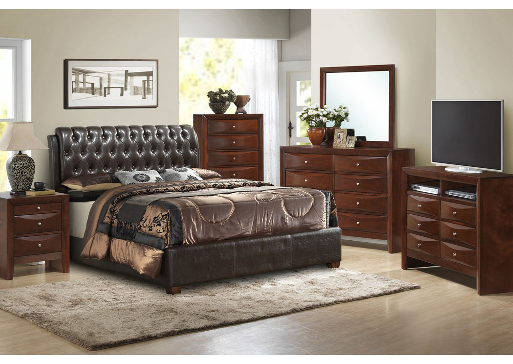 Cherry Queen Upholstered Bed, Dresser & Mirror,Glory Furniture
