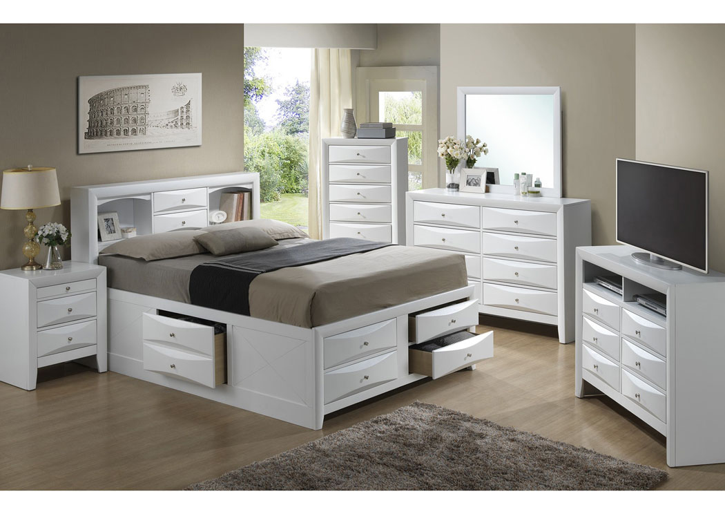 Picture of: White Queen Storage Bookcase Bed Dresser Mirror Home Furnishings Depot Ny