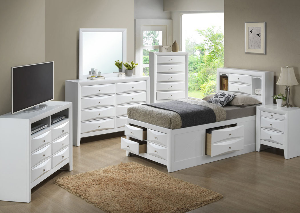 White Twin Storage Bookcase Bed, Dresser & Mirror,Glory Furniture