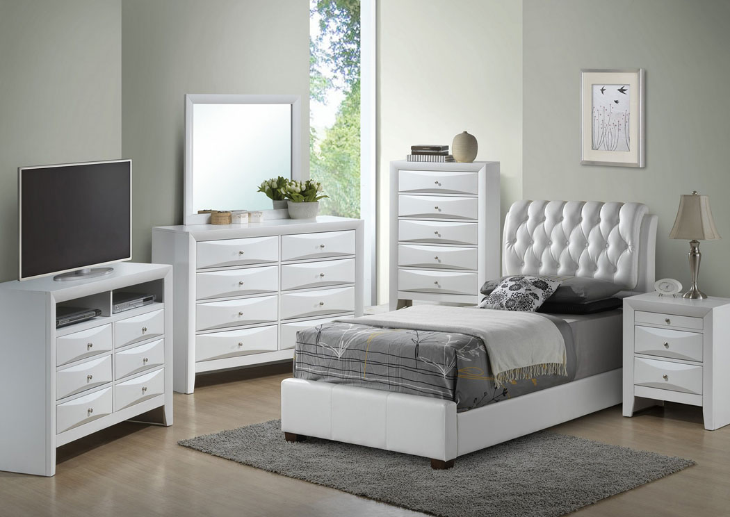 White Twin Upholstered Bed, Dresser & Mirror,Glory Furniture