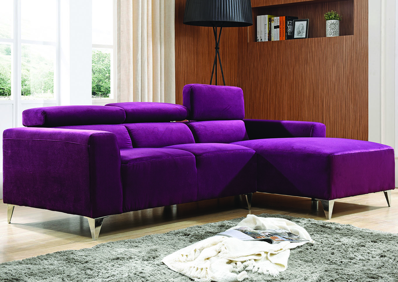 Picture of: Purple Velvet Micro Suede Sofa Sectional Best Buy Furniture And Mattress