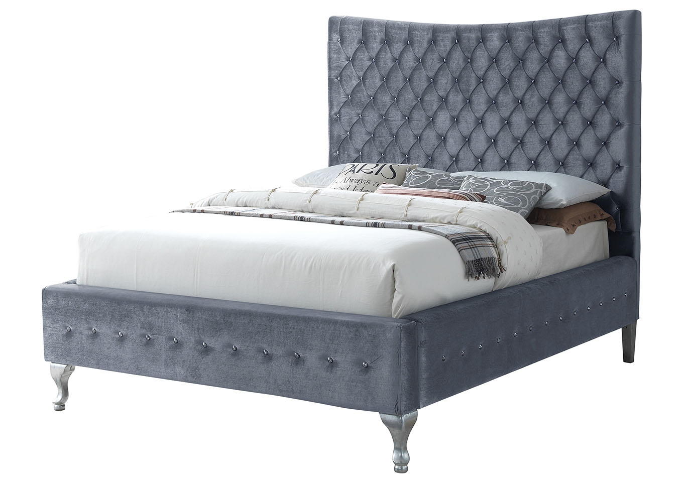 Gray King Size Tufted Upholstered Bed,Glory Furniture