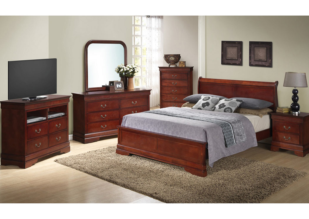 Cherry Queen Low Profile Bed, Dresser & Mirror,Glory Furniture