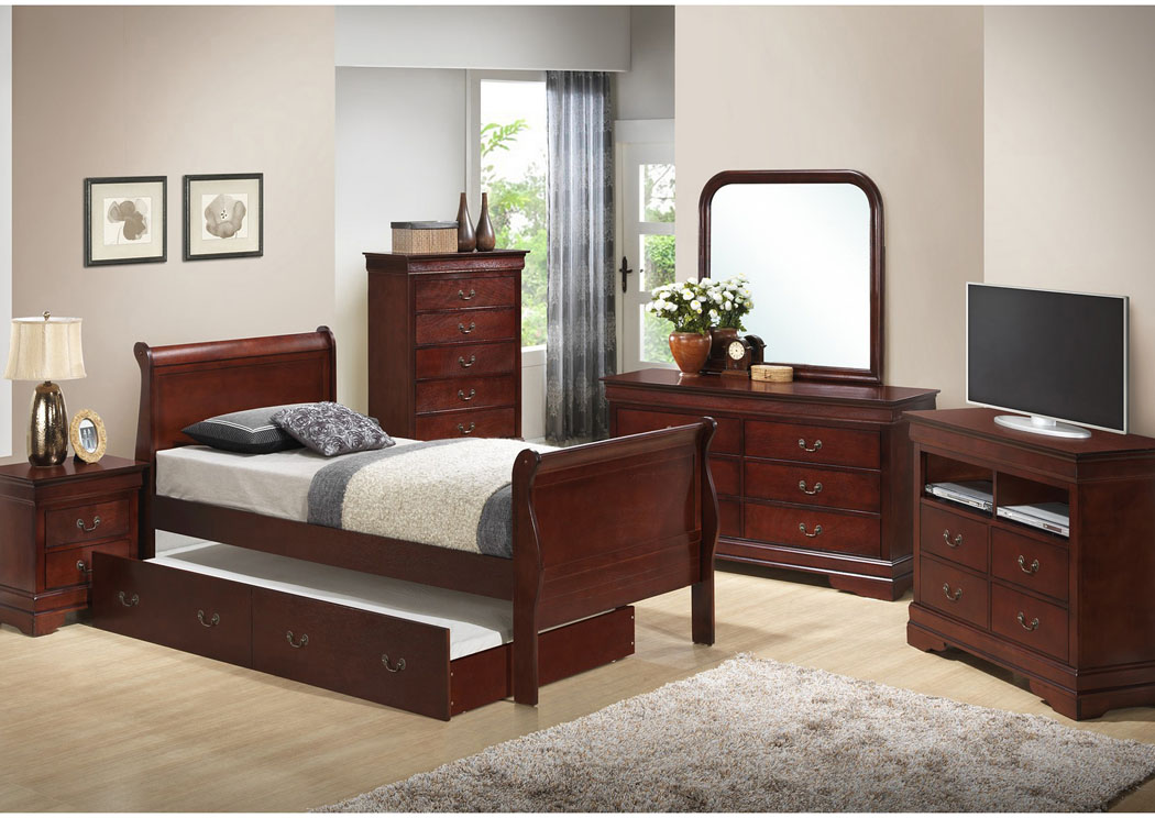 Cherry Twin Trundle Bed, Dresser & Mirror,Glory Furniture