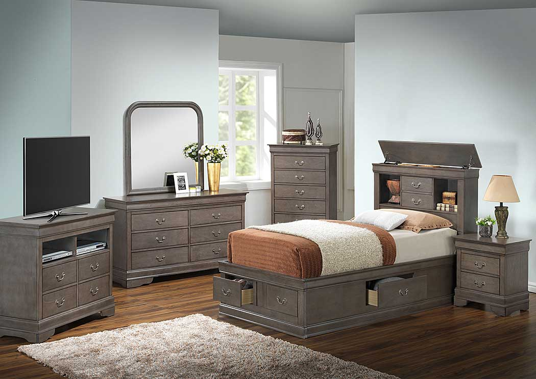 Grey Twin Storage Bed, Dresser & Mirror,Glory Furniture