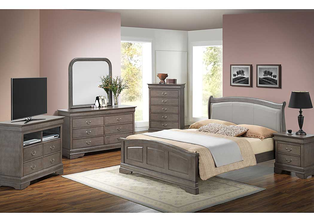 Grey Queen Low Profile Bed w/ PU Insert, Dresser & Mirror,Glory Furniture