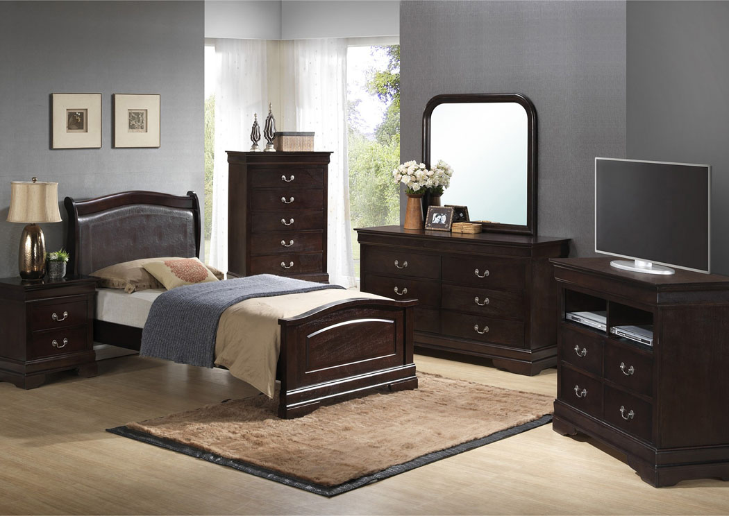 Cappuccino Twin Low Profile Upholstered Bed, Dresser & Mirror,Glory Furniture