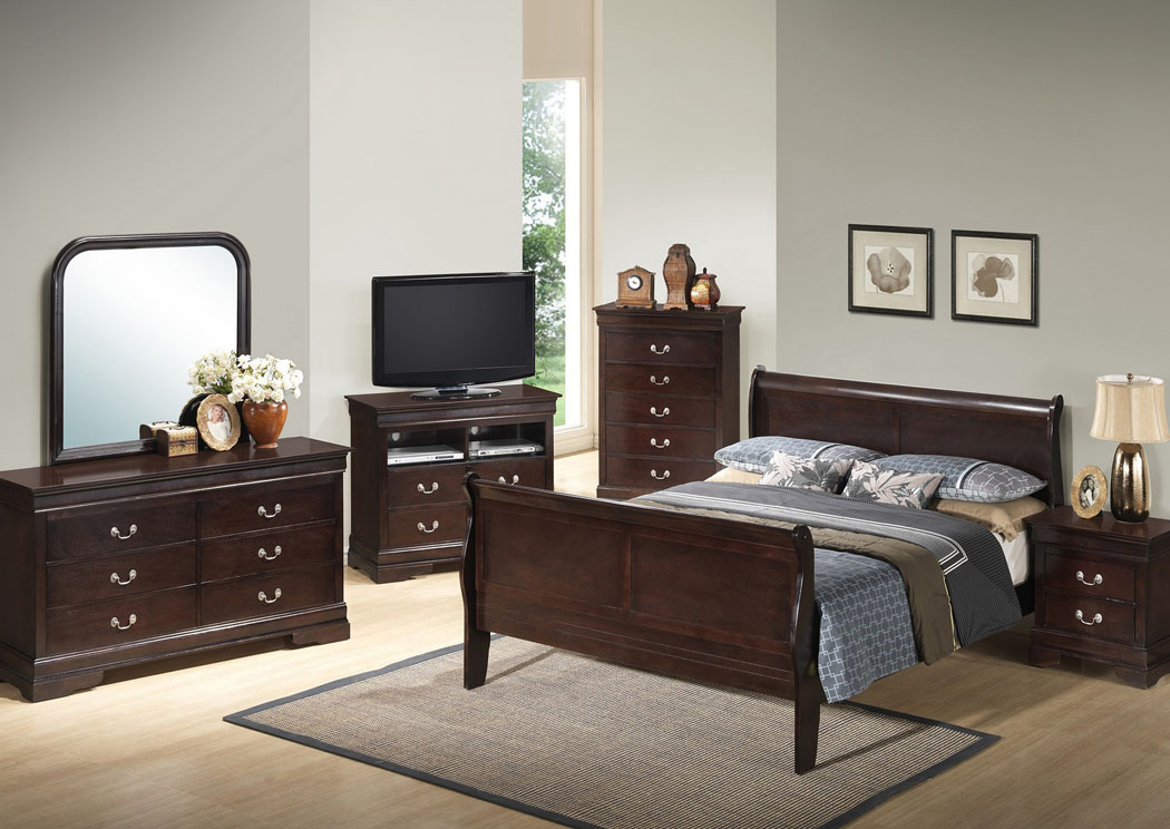 Cappuccino Queen Sleigh Bed, Dresser & Mirror,Glory Furniture