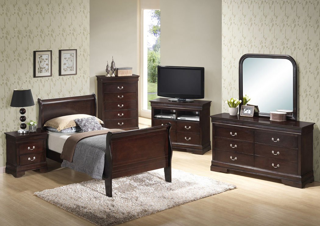 Cappuccino Twin Sleigh Bed, Dresser & Mirror,Glory Furniture