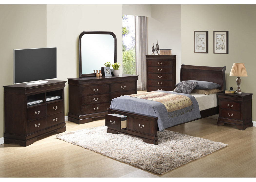 Cappuccino Twin Low Profile Storage Bed, Dresser & Mirror,Glory Furniture