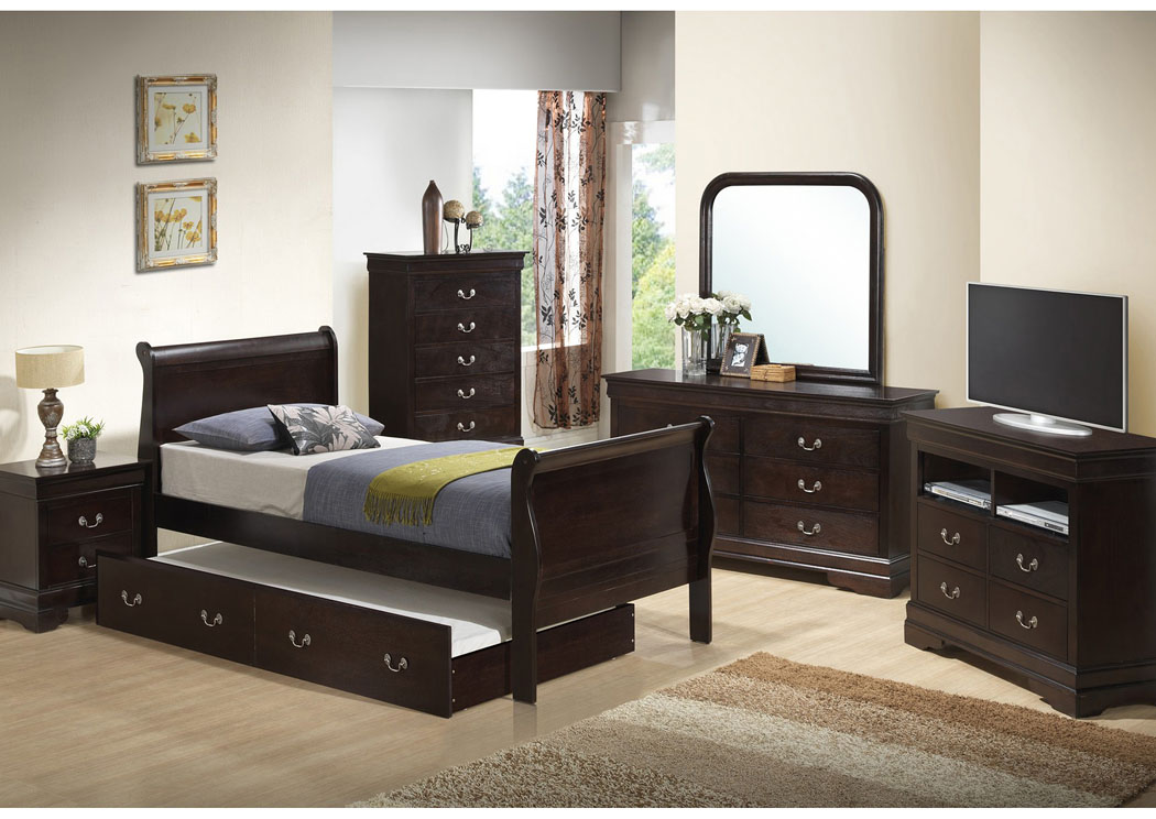 Cappuccino Twin Trundle Bed, Dresser & Mirror,Glory Furniture