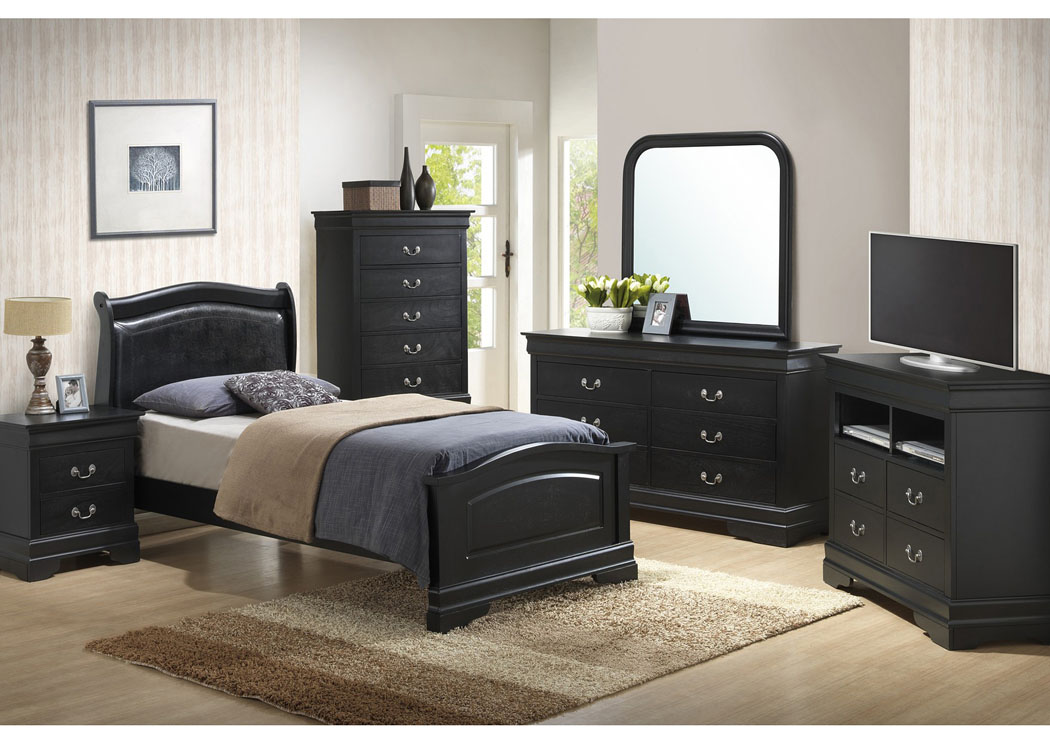 Black Twin Low Profile Upholstered Bed, Dresser & Mirror,Glory Furniture