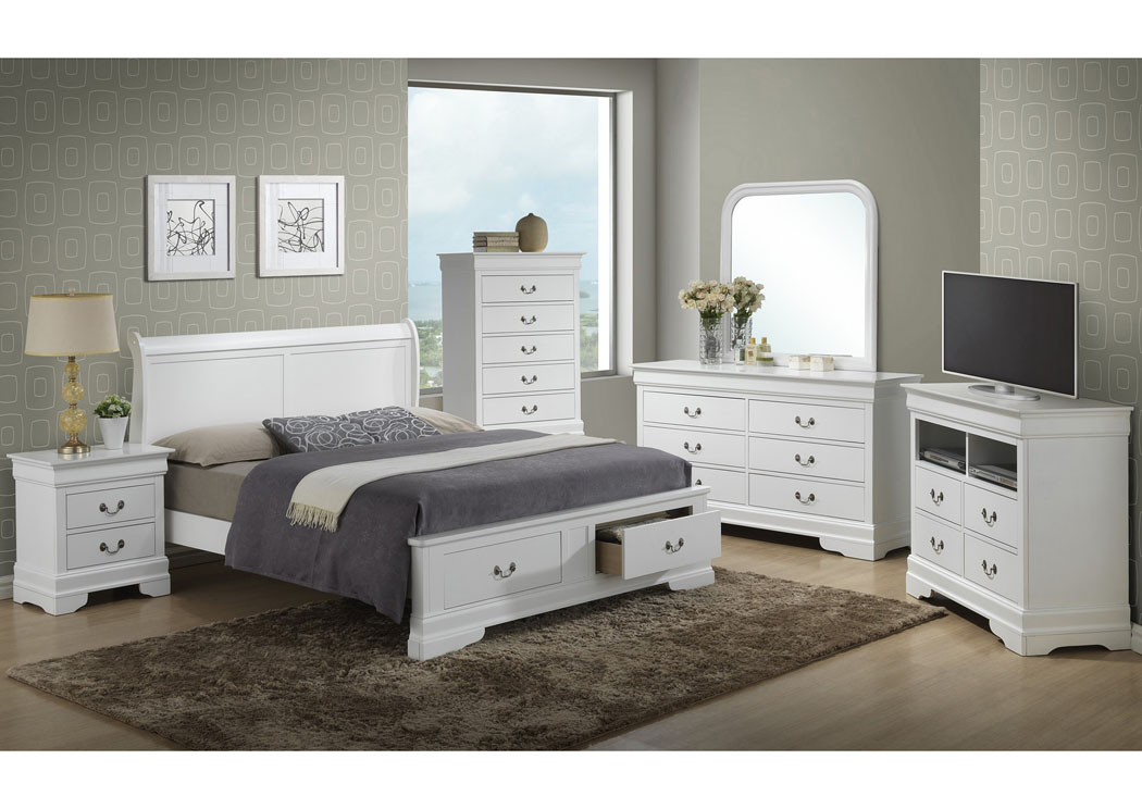 White Queen Low Profile Storage Bed, Dresser & Mirror,Glory Furniture