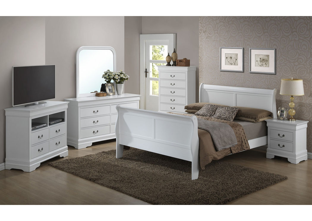 White Queen Sleigh Bed, Dresser & Mirror,Glory Furniture