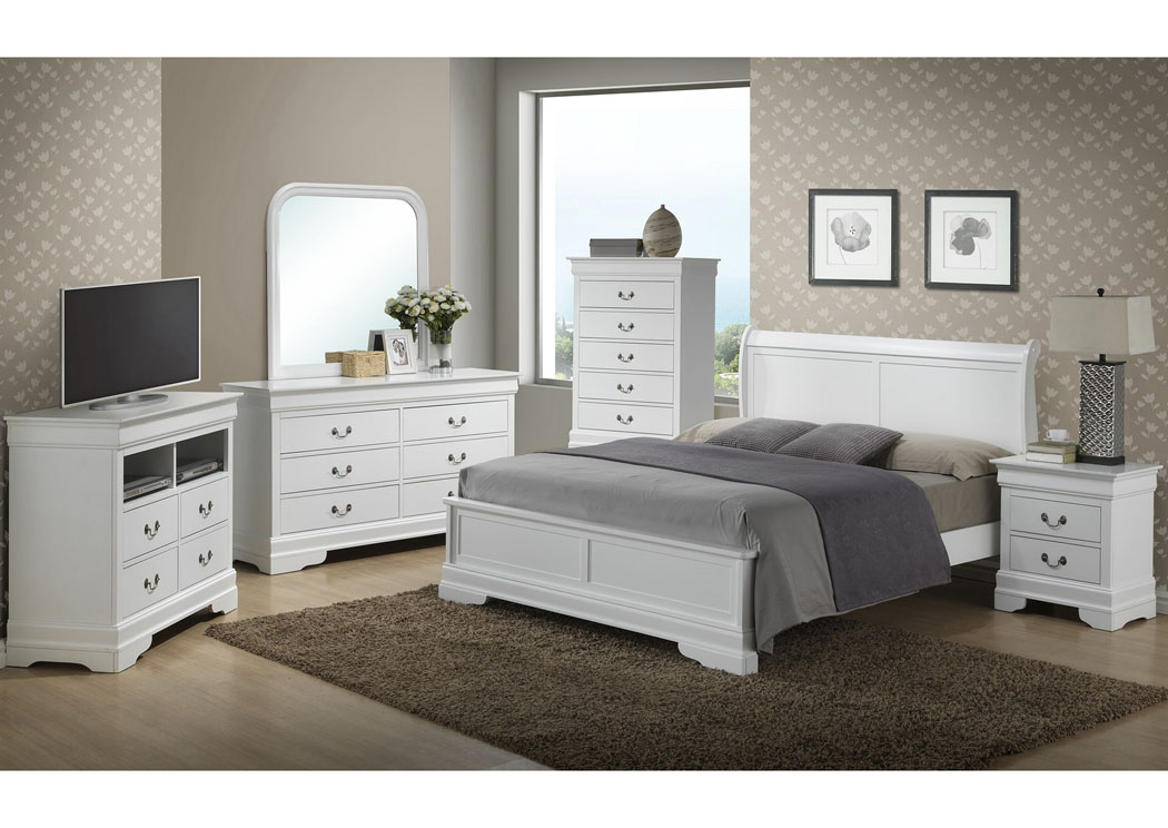 White Queen Low Profile Bed, Dresser & Mirror,Glory Furniture