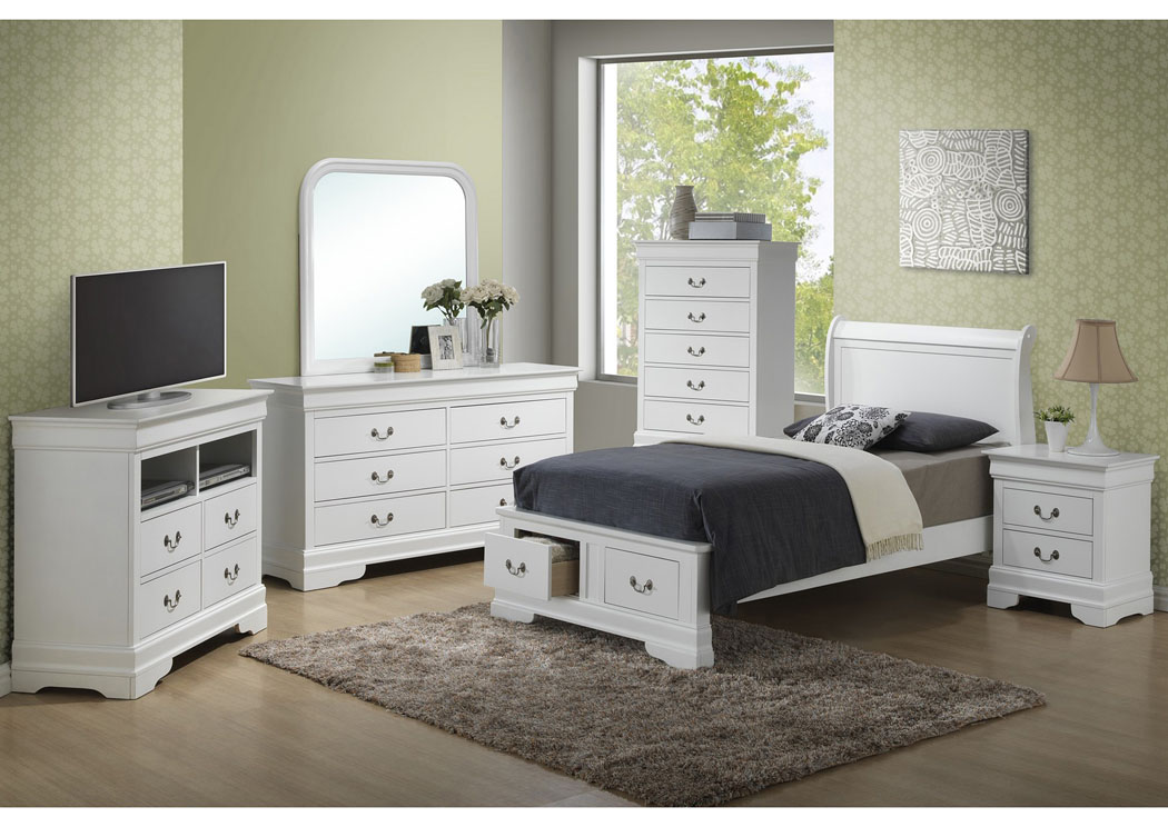White Twin Low Profile Storage Bed, Dresser & Mirror,Glory Furniture