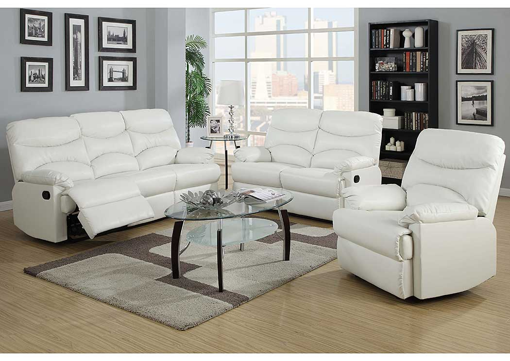 Picture of: White Bonded Leather Double Reclining Sofa Loveseat Best Buy Furniture And Mattress