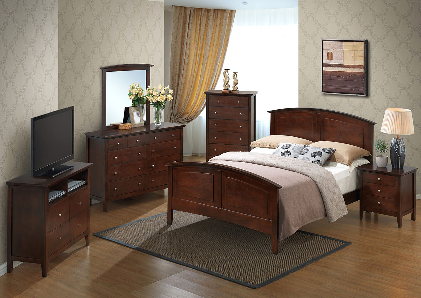 Cappuccino King Size Panel Bed,Glory Furniture