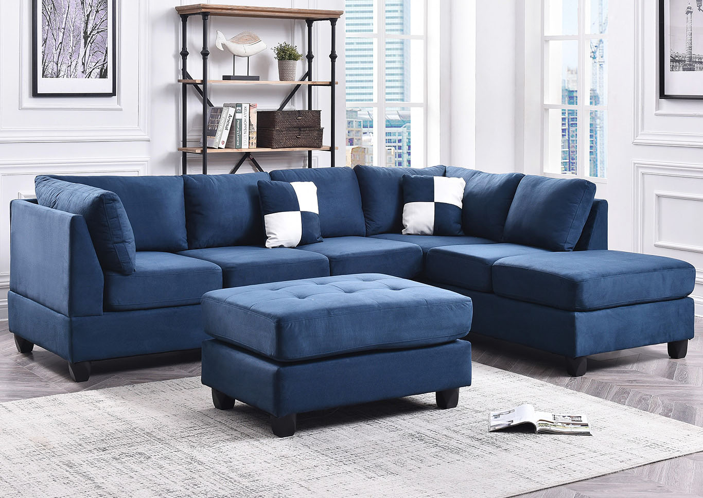 Navy Blue Suede Sectional,Glory Furniture