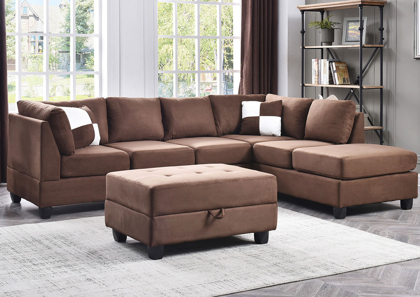 Chocolate Suede Sectional,Glory Furniture