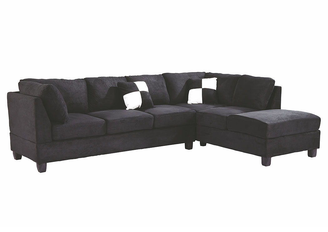 Black Suede Sectional,Glory Furniture