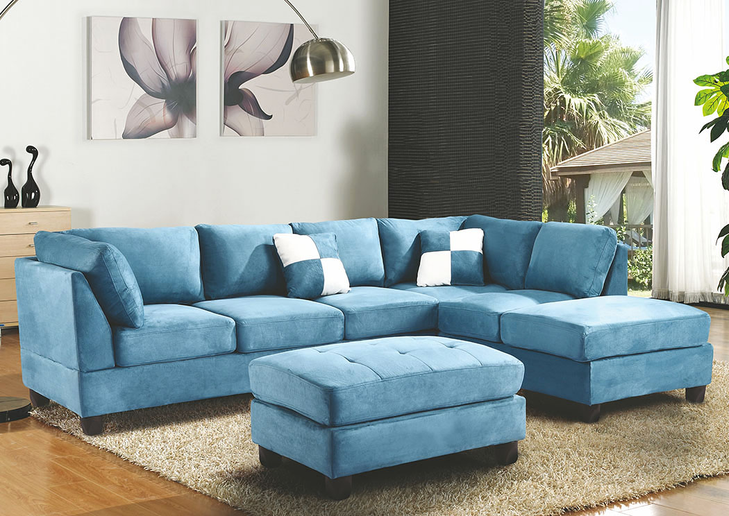 Aqua Suede Sectional,Glory Furniture