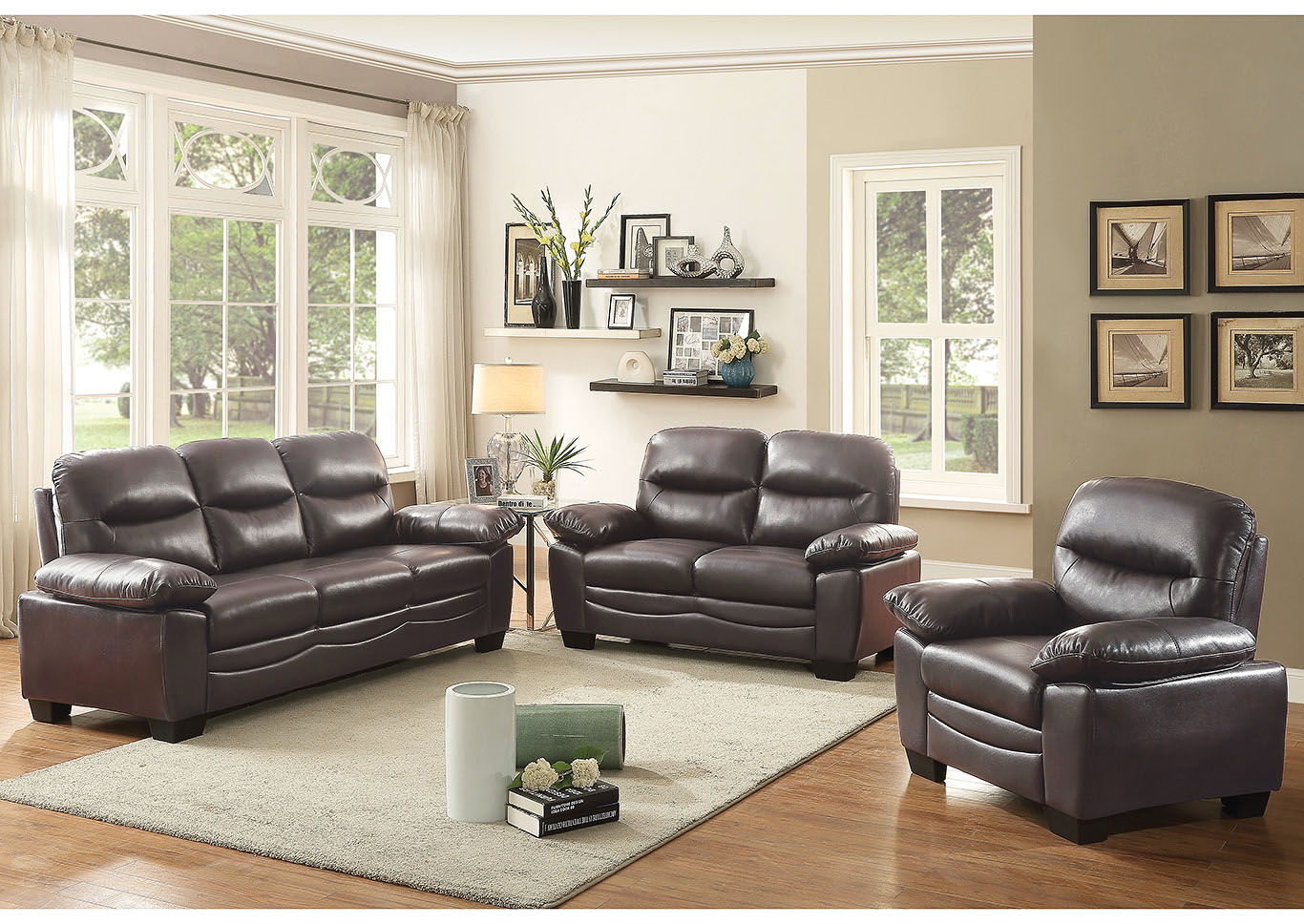Torcon Dark Brown Faux Leather Sofa And Loveseat Home Furnishings Depot Ny