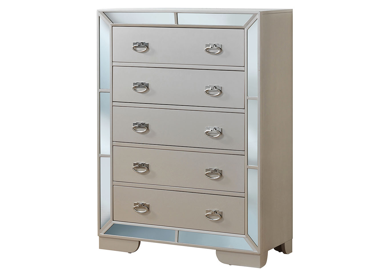 Pearl 5 Drawer Mirror Tile Frame Chest,Glory Furniture