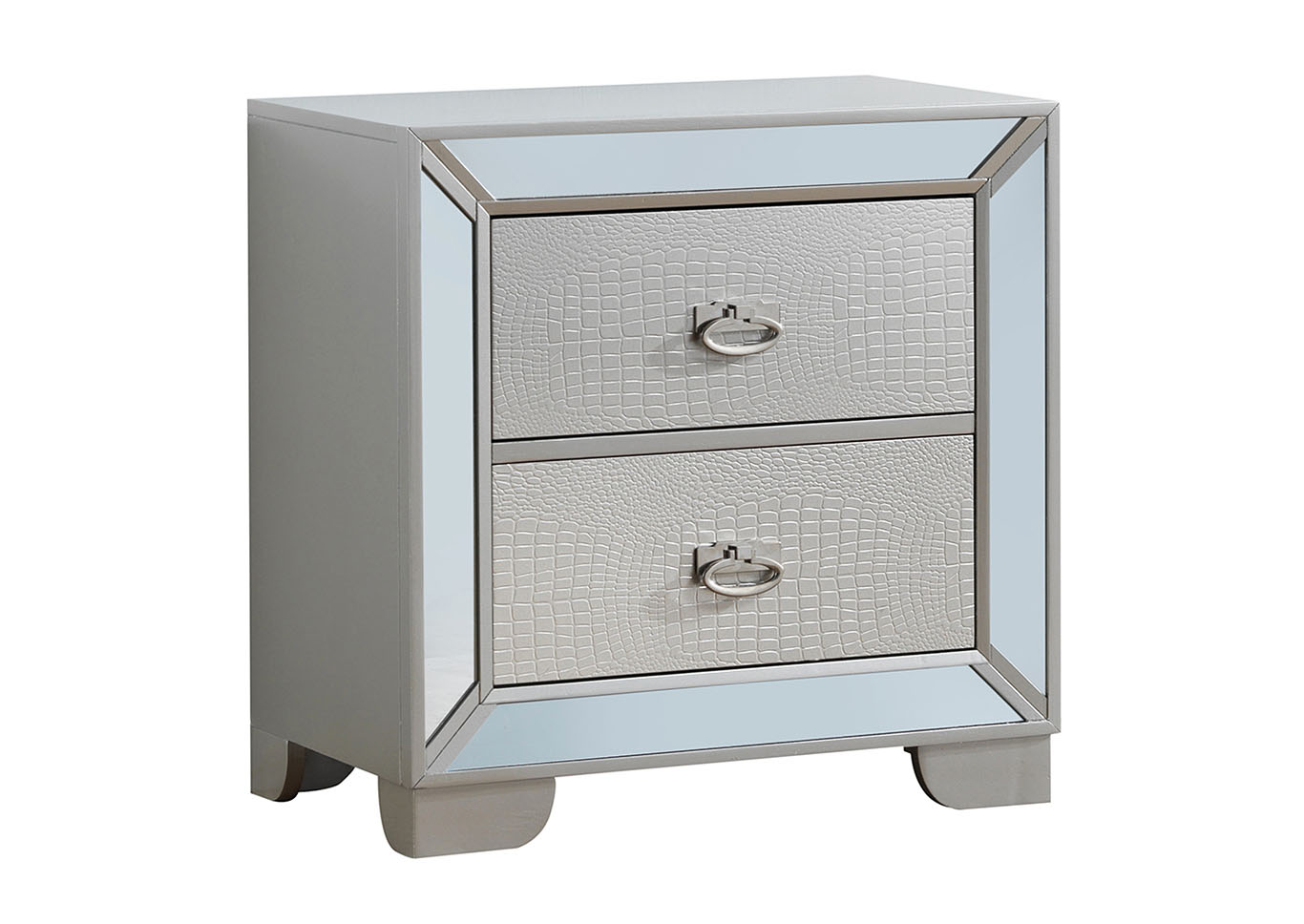 Gray 2 Drawer Mirror Tile Frame Nightstand,Glory Furniture