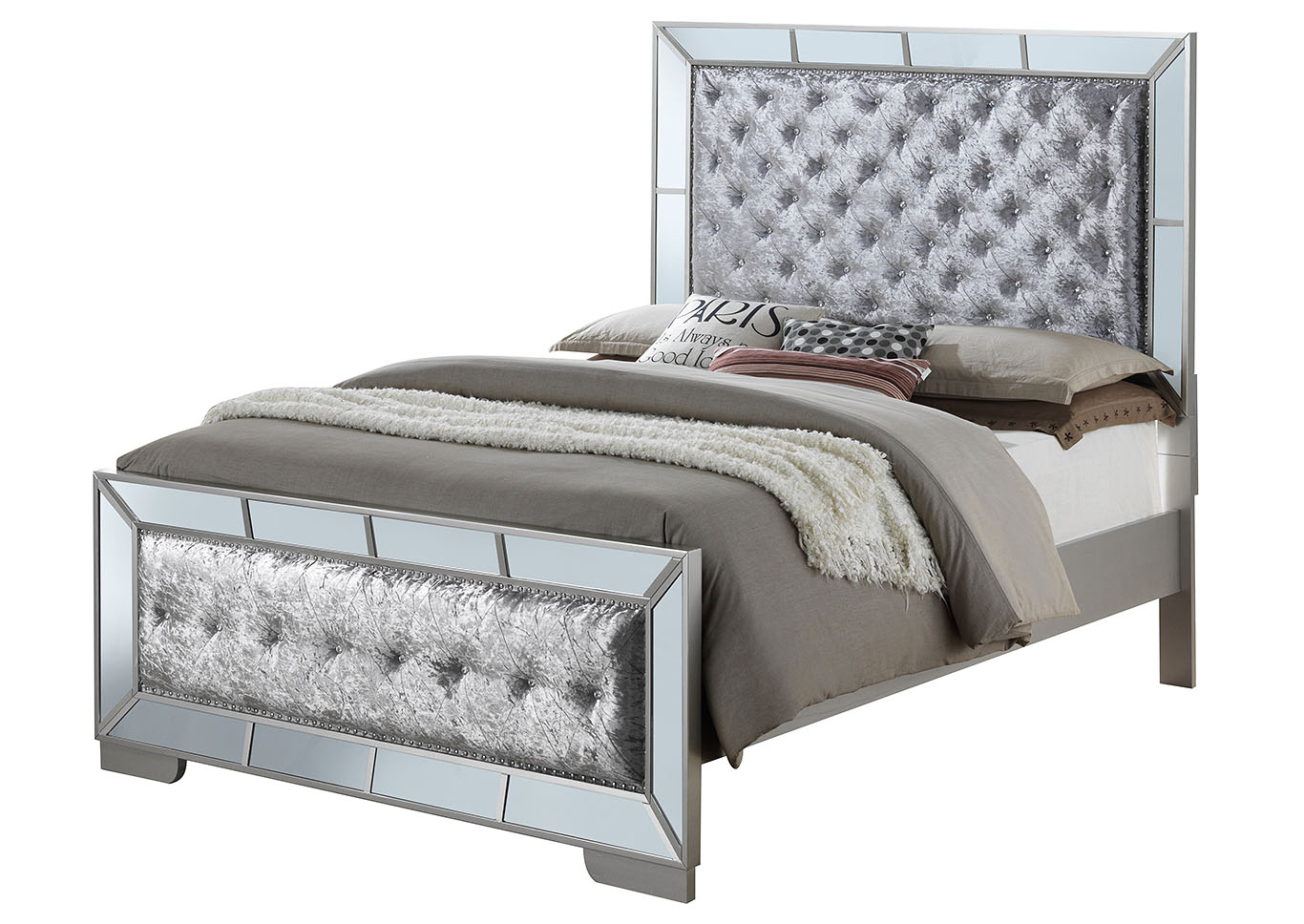Gray Mirror Tile Frame King Panel Bed,Glory Furniture