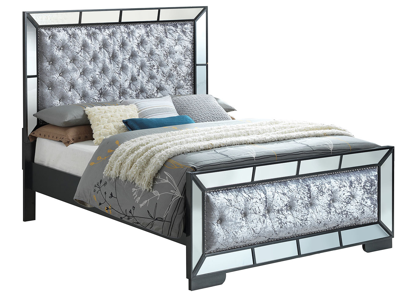 Black Mirror Tiled Framed King Panel Bed,Glory Furniture