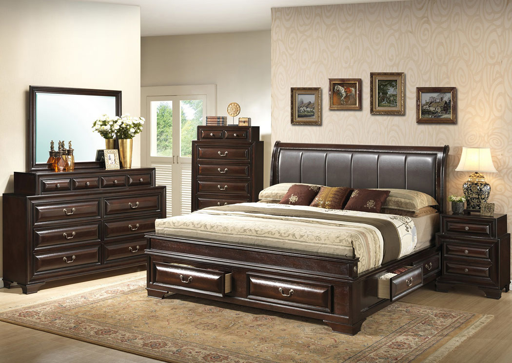 Cappuccino Queen Upholstered Bed w/ 6 Drawers, Dresser & Mirror,Glory Furniture