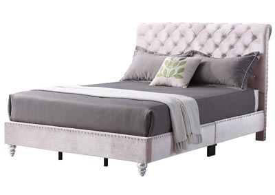 Khaki Micro Suede Tufted Upholstered Queen Bed