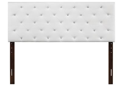 White Upholstered Queen Headboard