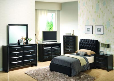 Black Twin Upholstered Bed, Dresser & Mirror