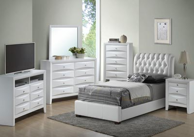 White Twin Upholstered Bed, Dresser & Mirror