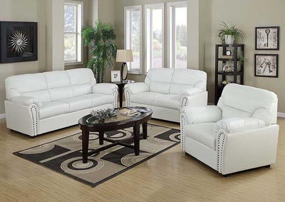Image for White Bonded Leather Sofa