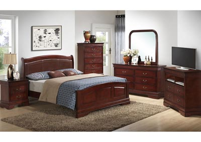 Cherry Queen Low Profile Upholstered Bed, Dresser & Mirror