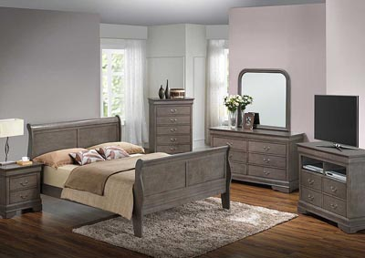Grey Queen Sleigh Bed, Dresser & Mirror