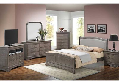 Grey Queen Low Profile Bed w/ PU Insert, Dresser & Mirror