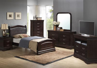 Cappuccino Twin Low Profile Upholstered Bed, Dresser & Mirror