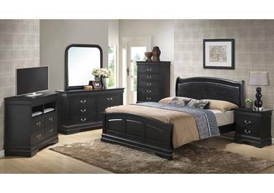 Black Queen Low Profile Upholstered Bed, Dresser & Mirror