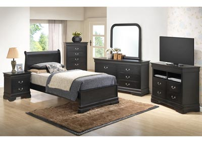 Black Twin Low Profile Bed, Dresser & Mirror