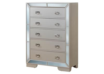 Pearl 5 Drawer Mirror Tile Frame Chest