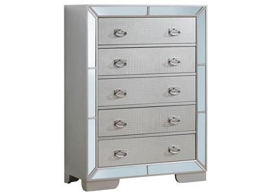 Gray 5 Drawer Mirror Tile Framed Chest